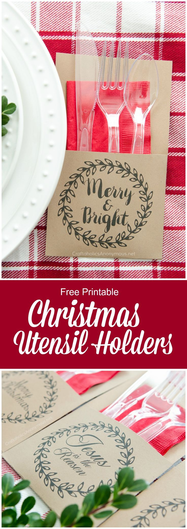 FREE PRINTABLE Christmas Utensil Holders. Print off and glue together. So easy! ...