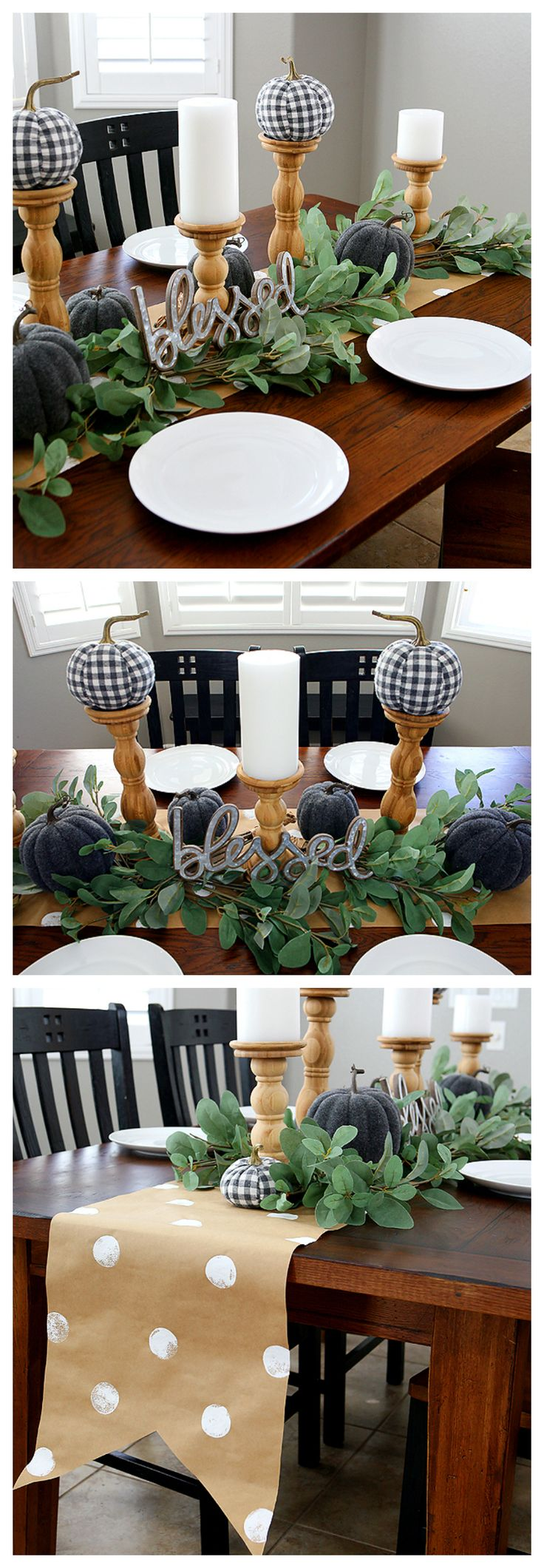 Fall Farmhouse Table | Grey and White with natural wood and greenery makes for a...
