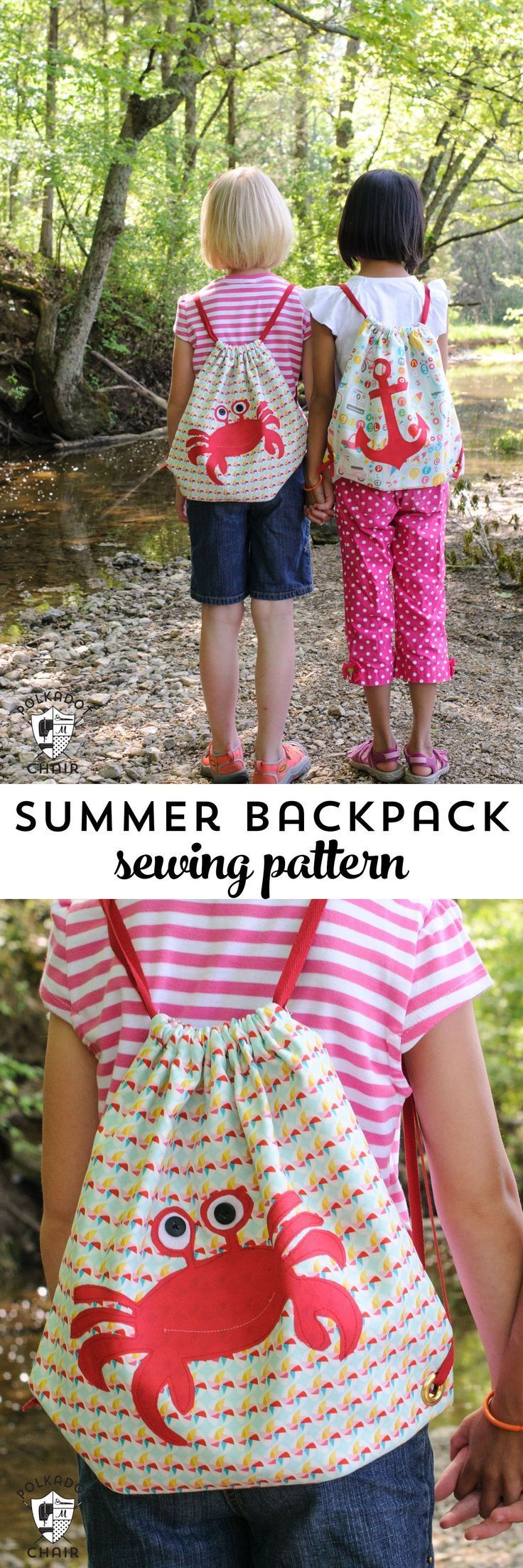 Free Sewing Pattern for a simple summer drawstring backpack for kids. Even inclu...