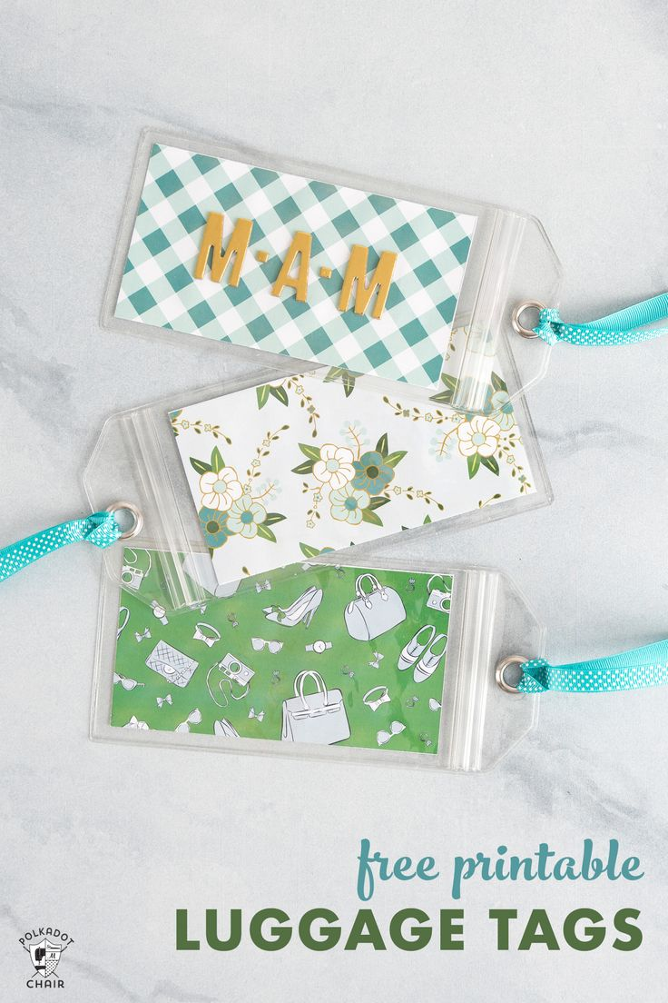 Free printable luggage tags that you can customize with monograms from polkadotc...