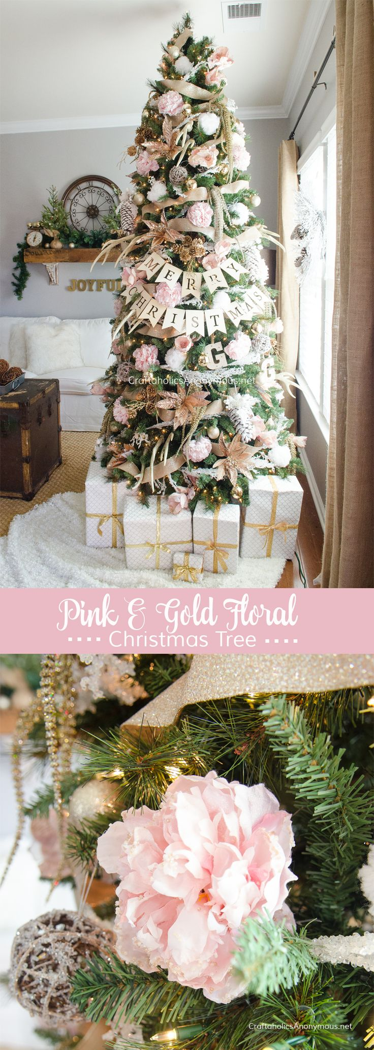 GORGEOUS Pink + Gold Floral Christmas Tree idea :: Love the peonies!