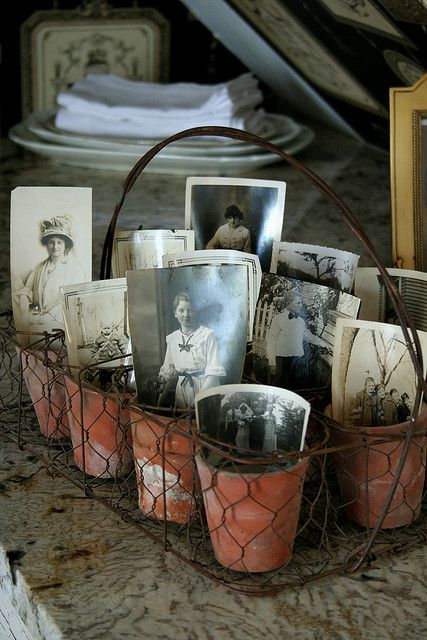 Great photo display in clay pots set in wire basket.