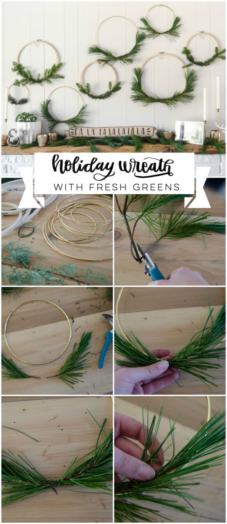 I LOVE these simple hoop wreaths with fresh greenery. The perfect amount of Chri...