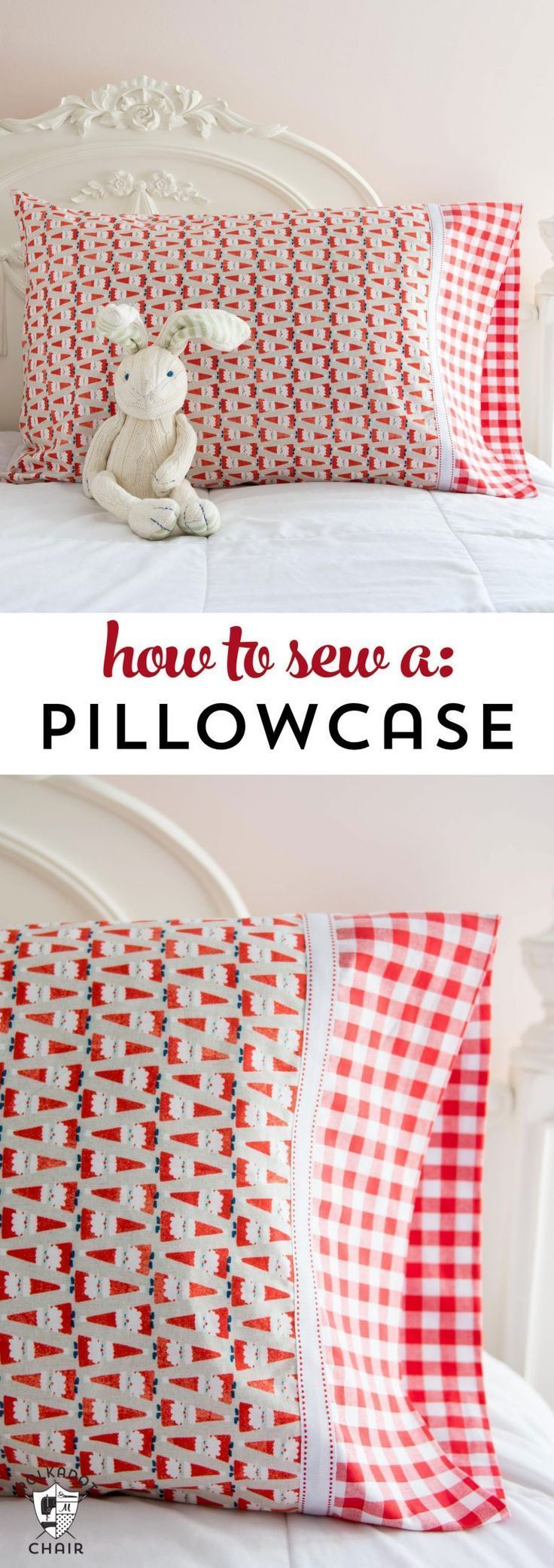 Learn a quick and easy way to sew a pillowcase. #sewing #beginnersewing #pillowc...
