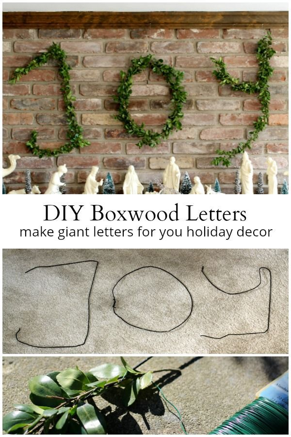 Learn how to make wire hanger boxwood letters that work great at Christmas or re...