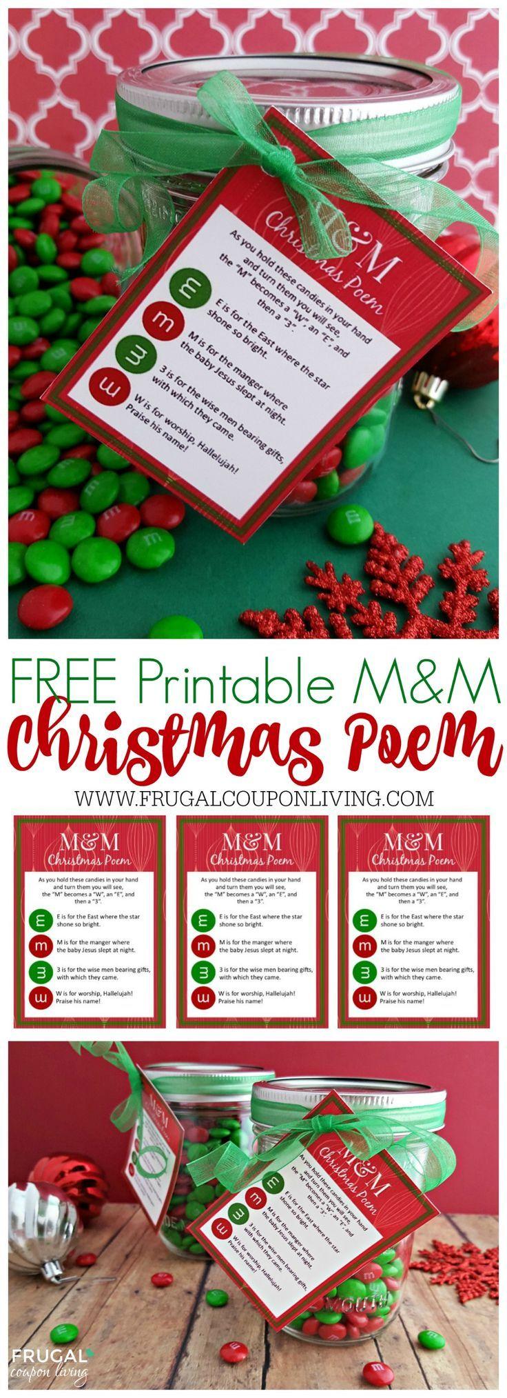 Mason Jar M&M Christmas Poem Printable - DIY Homemade Gift Ideas. #Christmas #pr...