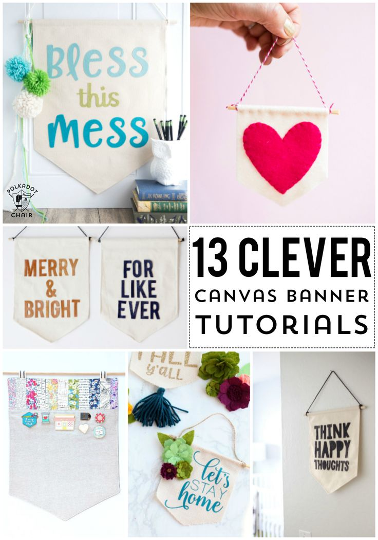 More than 13 DIY Canvas Banner and Pennant Tutorials. So many cute ideas for fun...