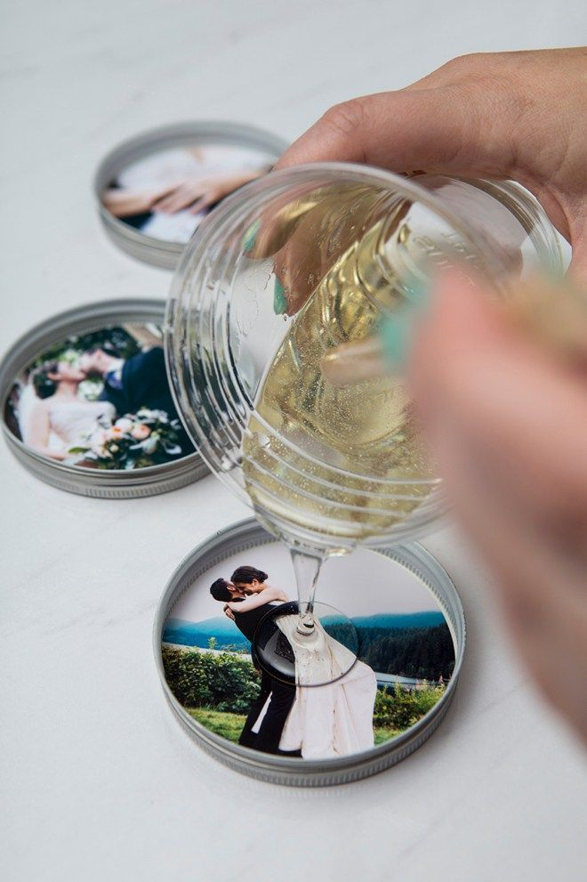Diy Crafts One Piece Mason Jar Lids Resin And Photos Make The
