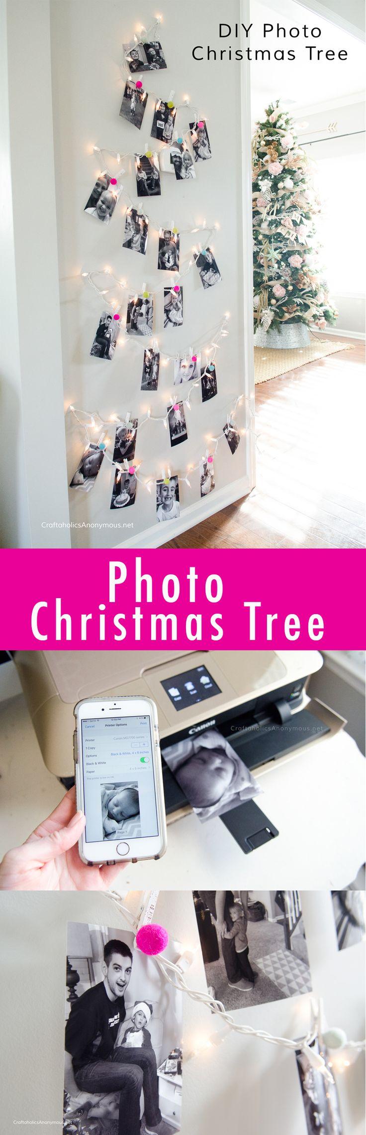 Photo Christmas Tree DIY using twinkle lights and felt ball. Easy Christmas deco...
