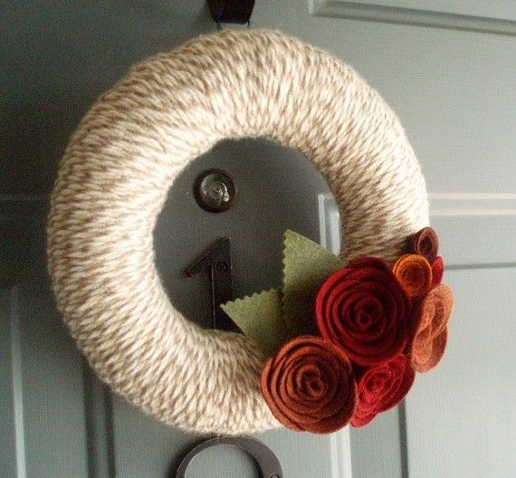 Pretty wreath with felt flowers.