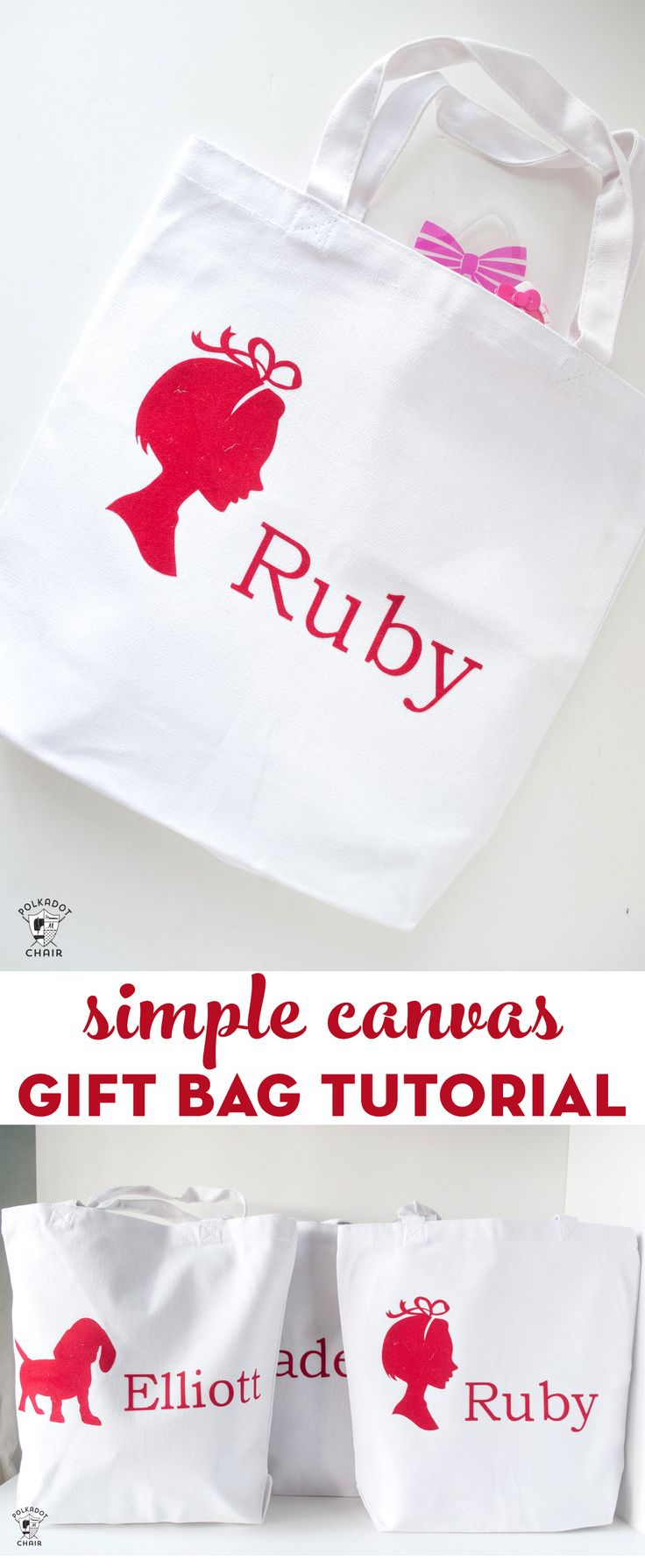 Simple Canvas Gift bag tutorial. How to make a canvas gift bag. #gifts #christma...