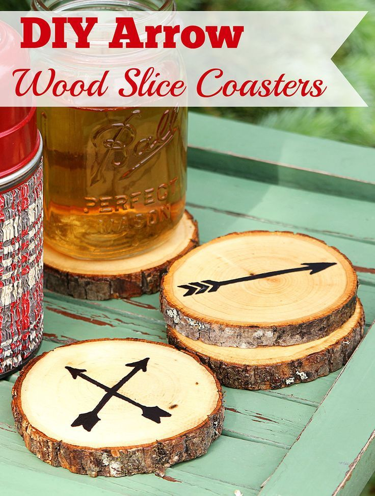 Super easy DIY Arrow Coasters made from craft store wood slices.  No fancy wood ...