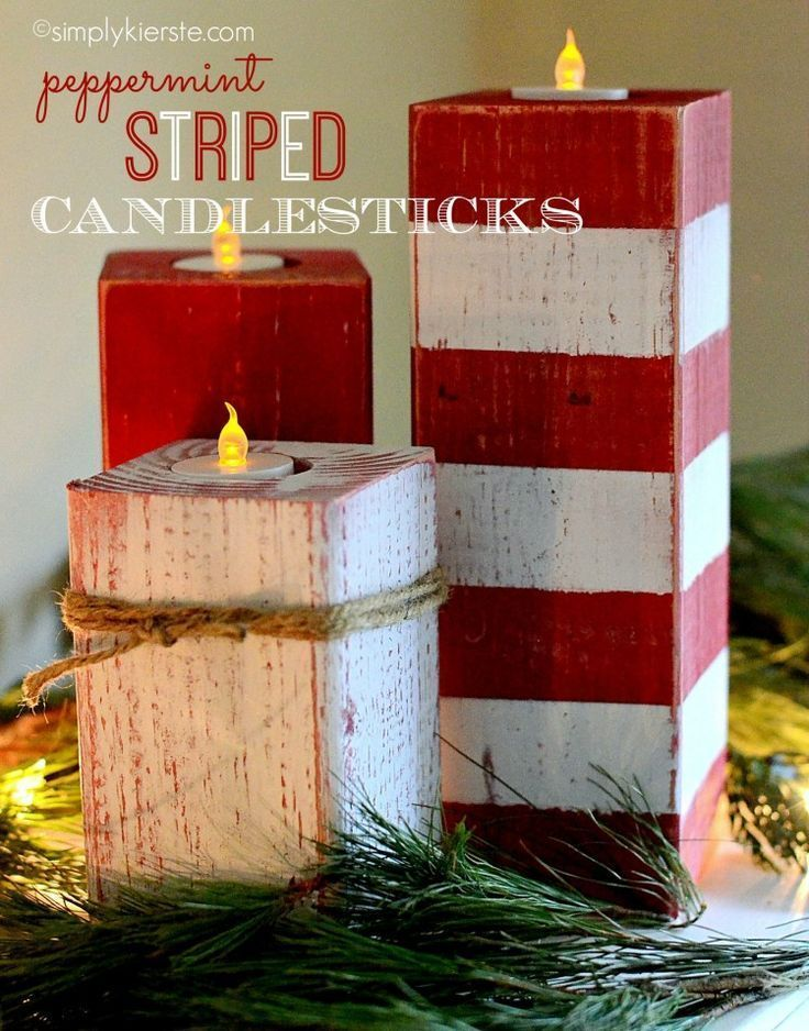 These darling peppermint striped candlesticks are made from 4 x4 posts, painted,...