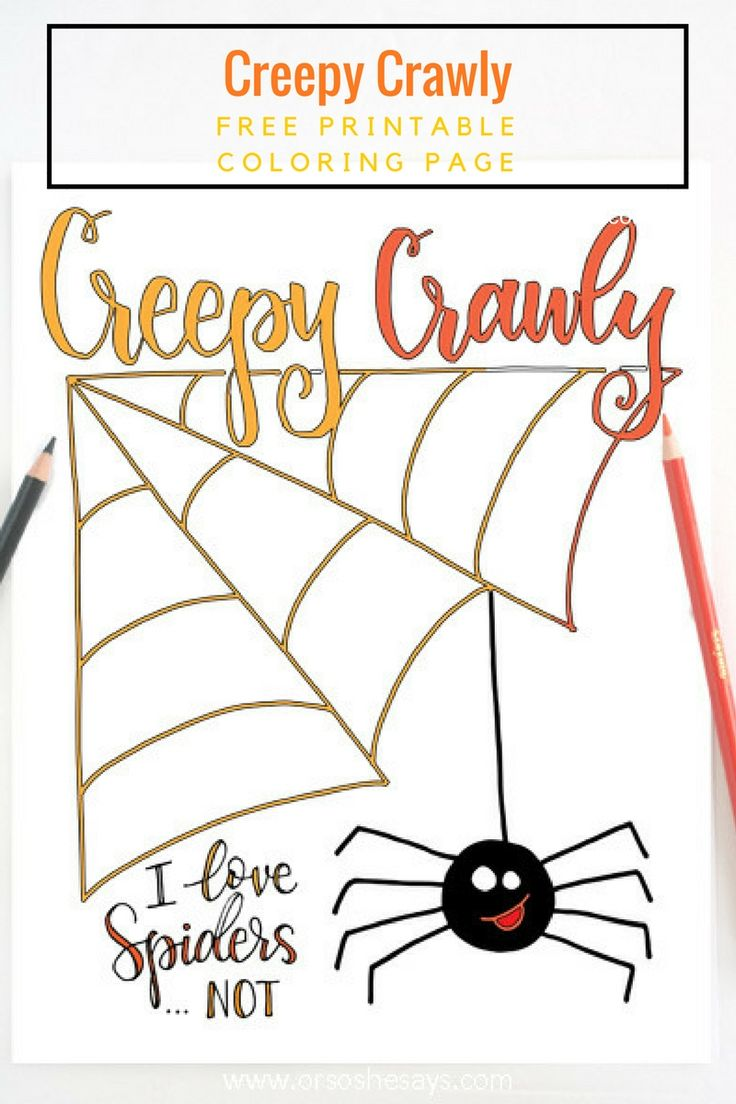 This free printable Halloween coloring page will give your kids the creepy crawl...