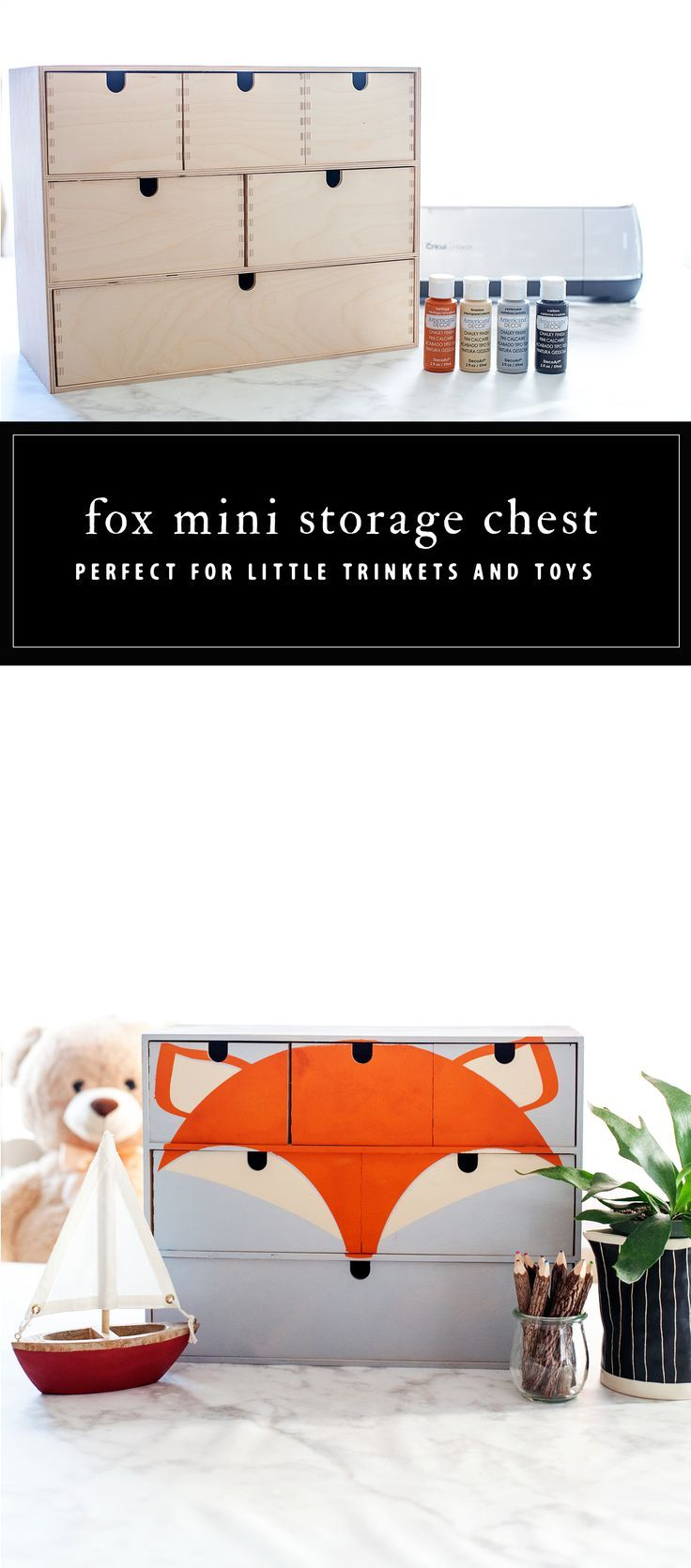 Transform a simple mini storage chest from IKEA into this cute little fox storag...