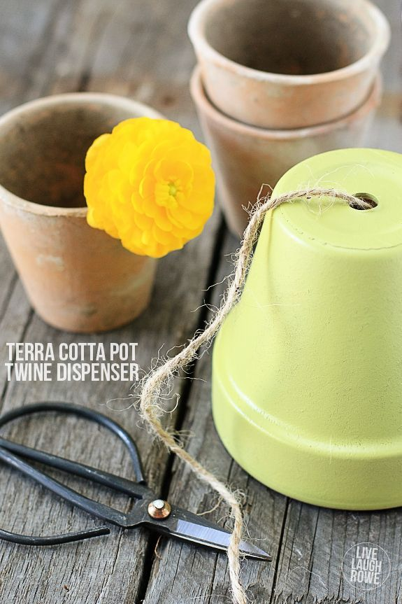 Turn a terra cotta pot into a string and/or twine dispenser!  Great for your kit...