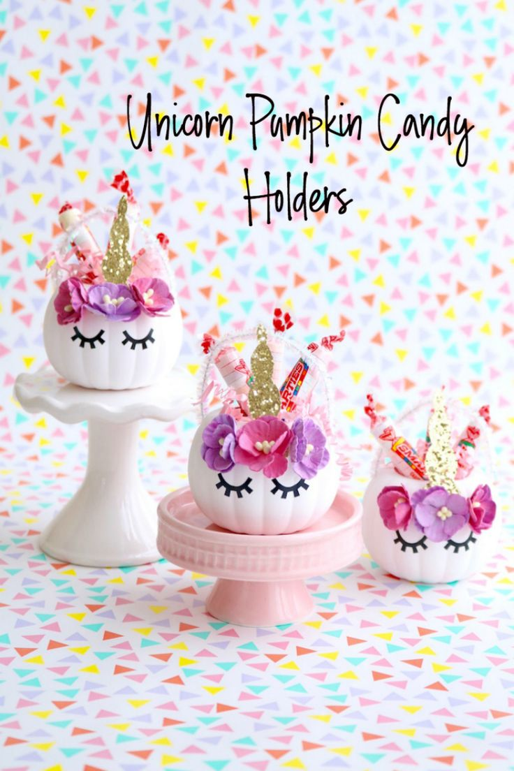 Unicorn Pumpkin Candy Holders. The sweetest little Halloween craft for your unic...