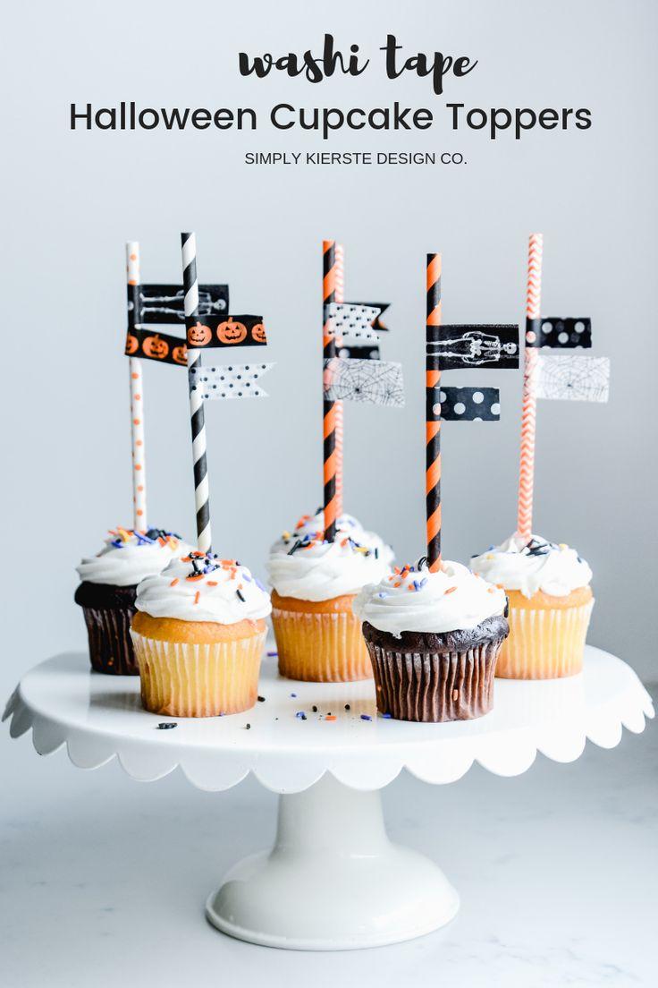 Washi Tape Halloween Cupcake Toppers #halloween #halloweentreats #halloweencupca...