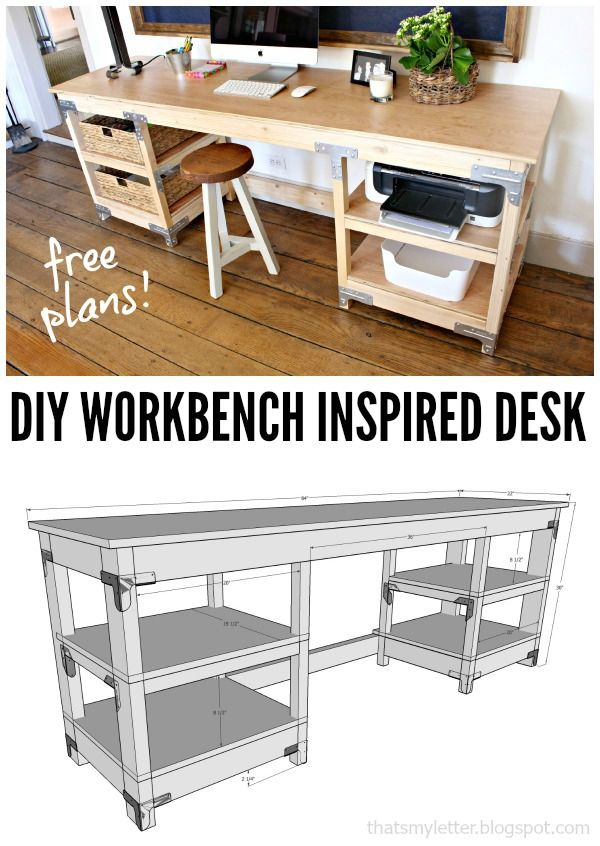 Diy Crafts Workbench Inspired Desk With Free Plans Diyall Net