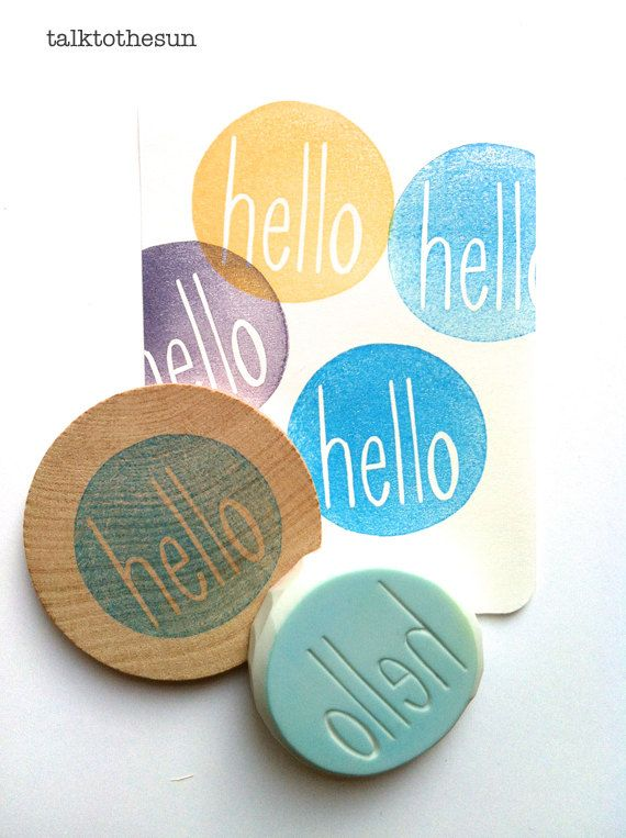 hello rubber stamp circle