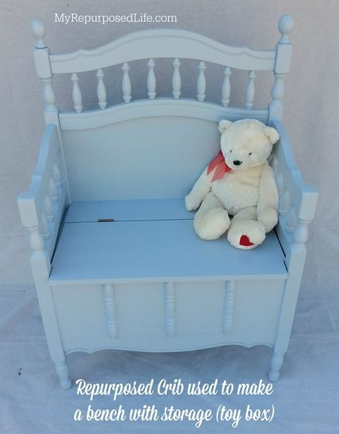 A family heirloom crib gets a new life as a toy box storage bench for the grandc...