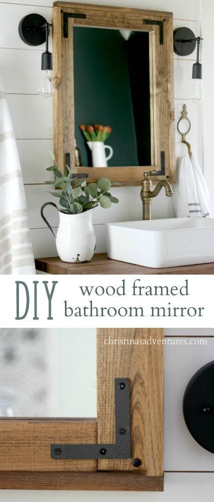 DIY wood framed bathroom mirror - a simple project that doesn't require any ...