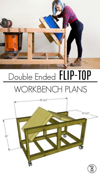 Diy Furniture Double Ended Flip Top Workbench Plans Video