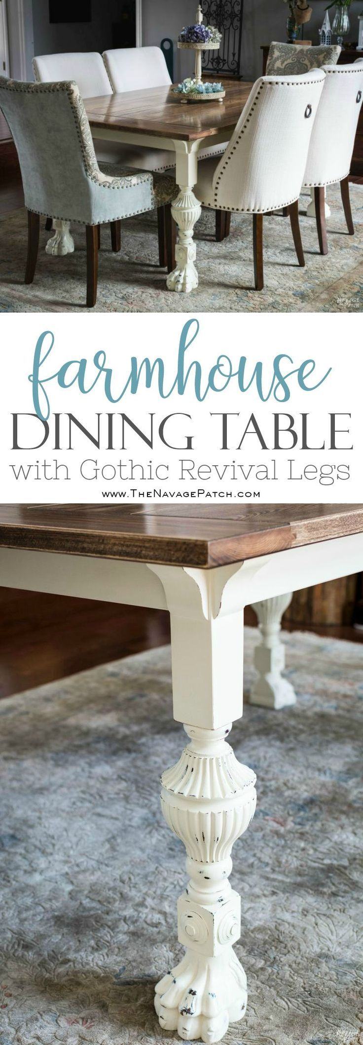 Farmhouse Dining Table with Gothic Revival Legs | DIY dining table tutorial | Ho...