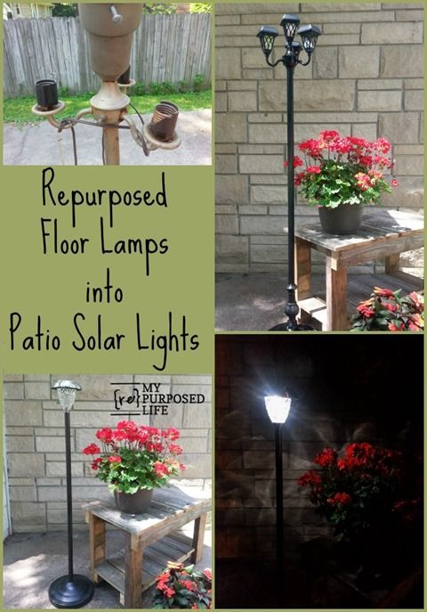 From My Repurposed Life  Turn Repurposed Floor Lamps into Patio Solar Lighting