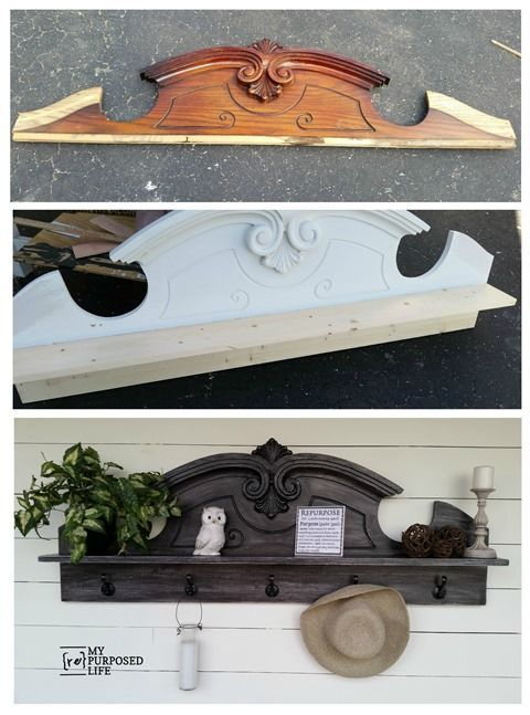 How to turn a china hutch top or pediment into a useful coat rack shelf. Tips fo...