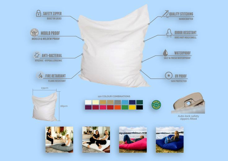 King bean bag. Made for the home, indoors or as a pool bean bag outdoors.