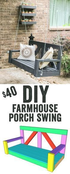 LOVE this DIY Porch Swing! It only uses 8 boards to build... That's under $30 fo...