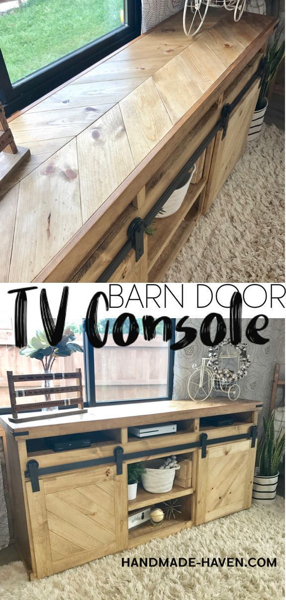 Looking for the perfect rustic media center?! This gorgeous DIY Sliding Barn Doo...