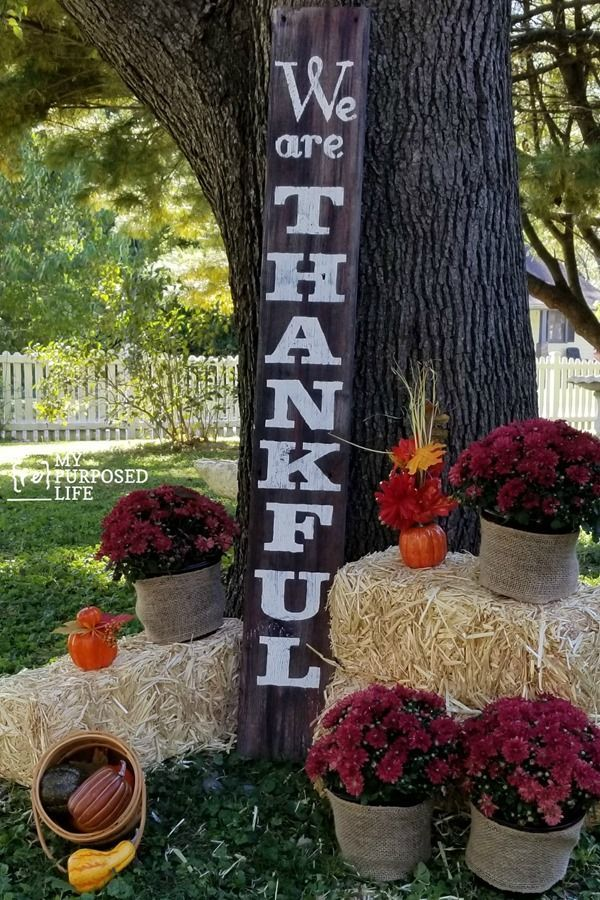 Make a we are thankful tall porch sign made from reclaimed lumber and a contact ...