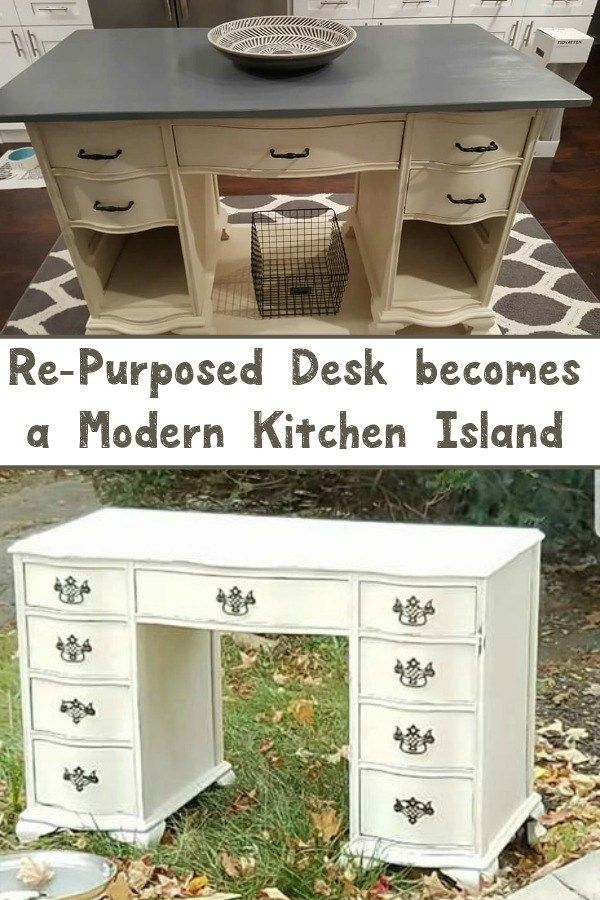 Re-Purposed Desk becomes a Modern Kitchen Island - from trash to treasure #repur...