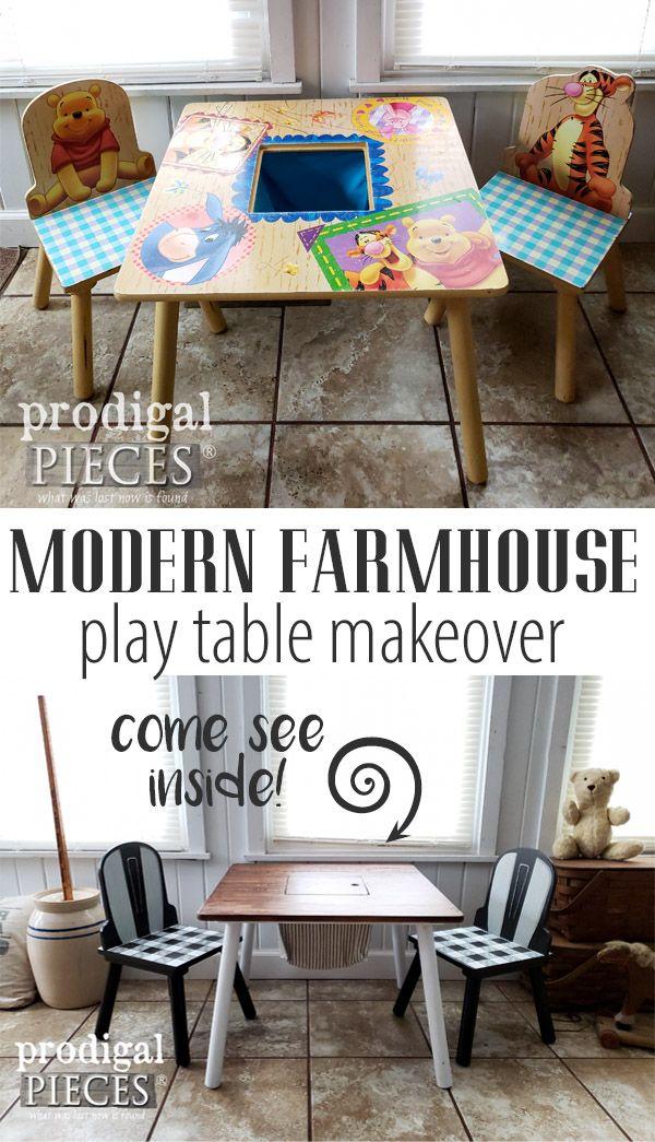 Sweet! A worn out Winnie the Pooh Kids Play Table gets cute Modern Farmhouse Mak...
