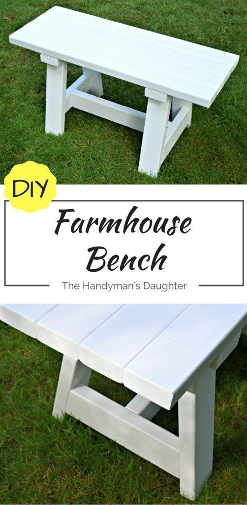 This farmhouse bench is simple to make, and only costs about $15! It's the perfe...