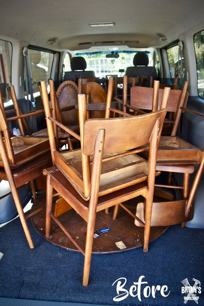 We scored a truckload of old chairs and a table! An old closed restaurant was cl...