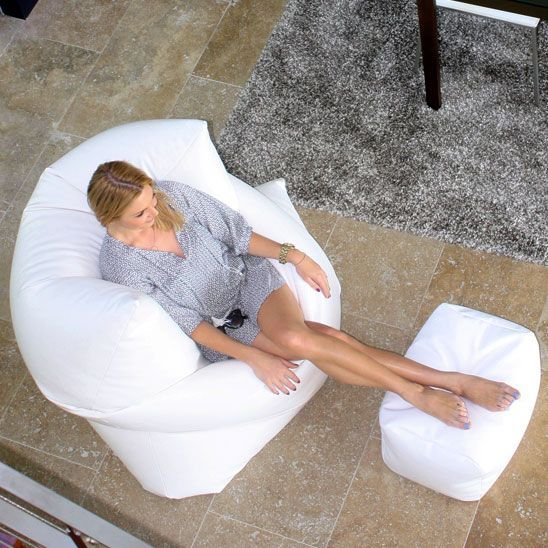White bean bag. This King size bean bag can be used in any home or commercial se...