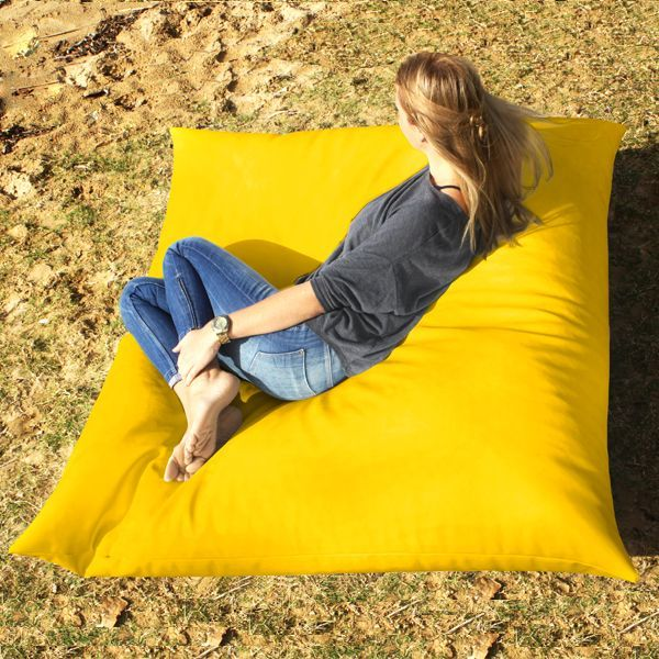Yellow King size bean bag. Bright bean bags to change the setting of any room