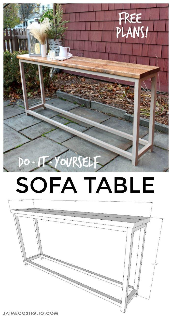 diy sofa table free plans