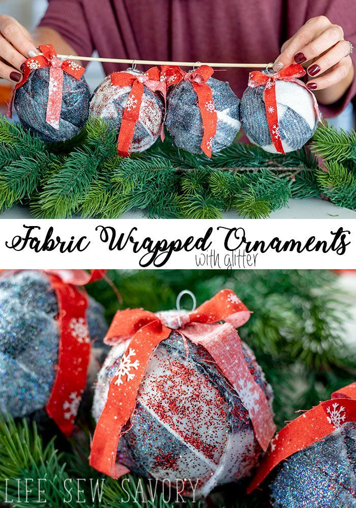 Diy Furniture Fabric Wrapped Ornaments With Glitter Easy Christmas