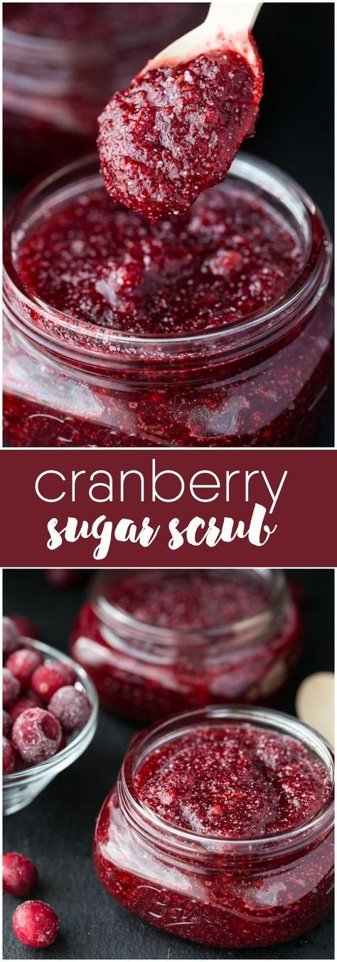 Cranberry Sugar Scrub -Save some of those holiday cranberries in your freezer an...