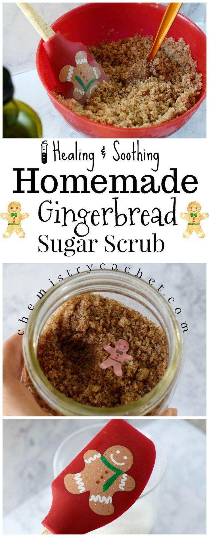 Healing, Soothing Homemade Gingerbread Sugar Scrub perfect for gifts! Not your t...