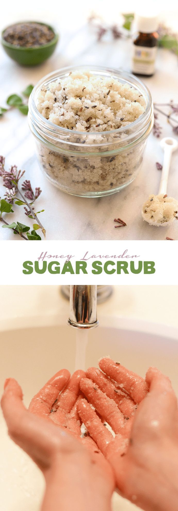 Make your own DIY Vanilla Lavender Sugar Scrub with real vanilla bean, dried lav...