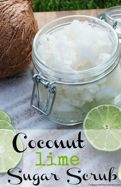 This DIY Coconut Lime Sugar Scrub is AMAZING! Made with simple ingredients that ...