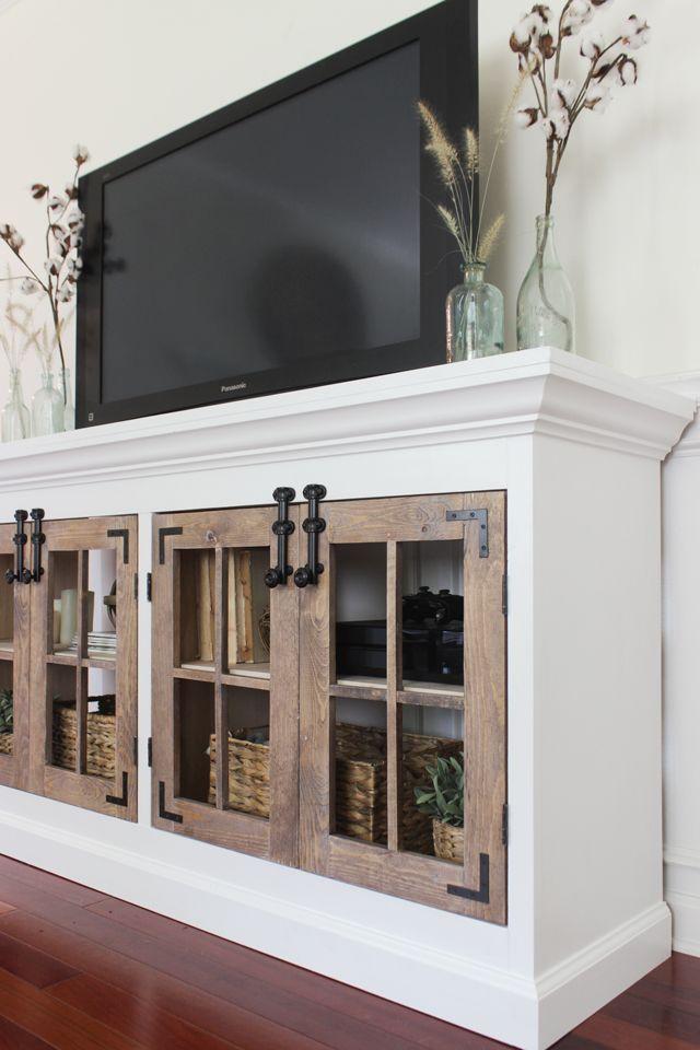 Ana White | Build a Farmhouse Media Cabinet Featuring Shades of Blue Interiors |...