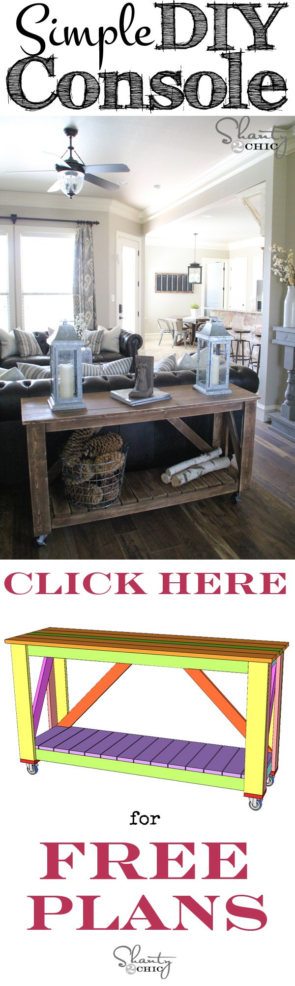 Easy DIY Console Table - industrial chic