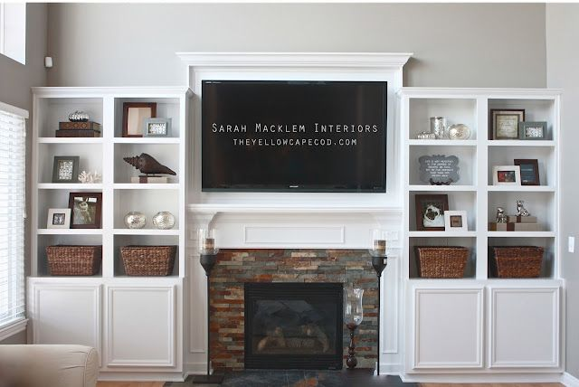 Diy Tv Stand Ideas White Built In Book Shelves Flanking The Tv