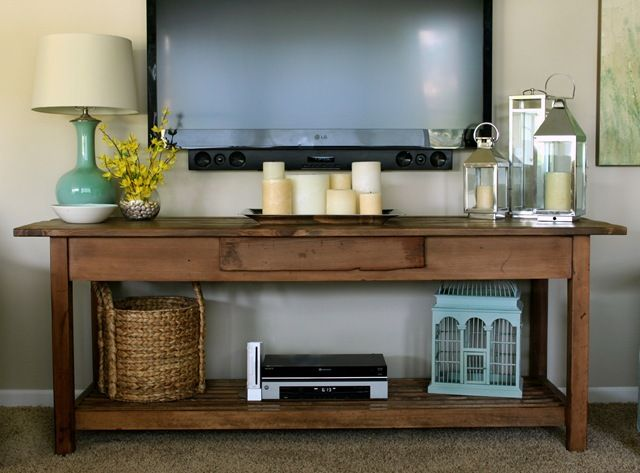 wall mounted TV with console table underneath: i really like how they've org...